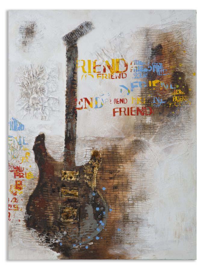 Tablou Guitar Art , 120x90x3.5 cm, lemn de pin/ canvas, multicolor poza