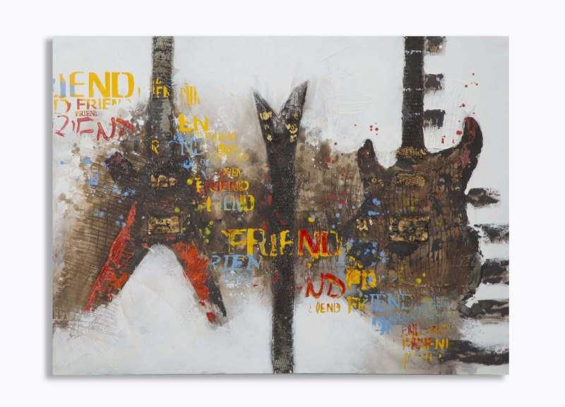 Tablou Guitar Artsy, 90x120x3.5 cm, lemn de pin/ canvas, multicolor poza