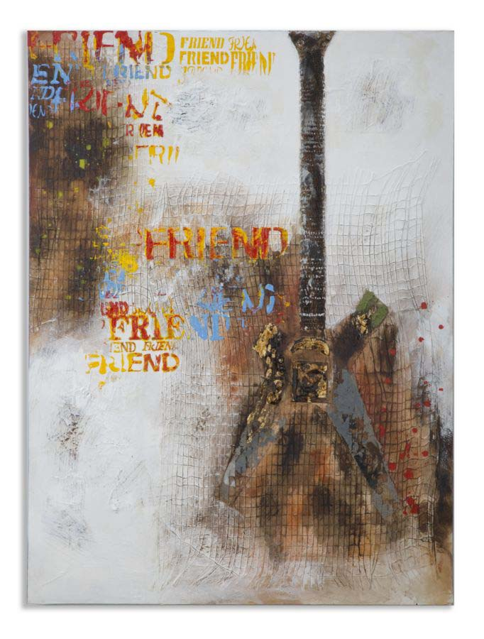 Tablou Guitar Arty, 120x90x3.5 cm, lemn de pin/ canvas, multicolor poza