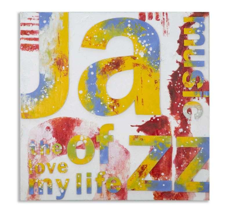 Tablou Jazz , 100x100x3.5 cm, lemn de pin/ canvas, multicolor poza