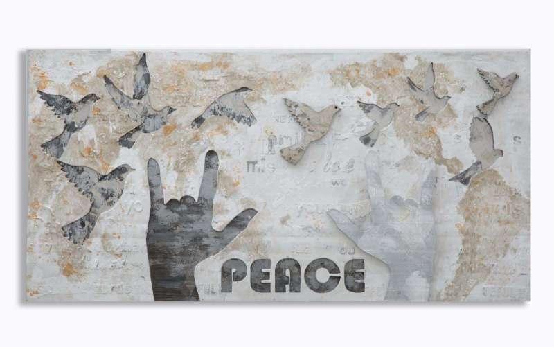 Tablou Peace, 120x60x3 cm, lemn de pin/ canvas, multicolor poza