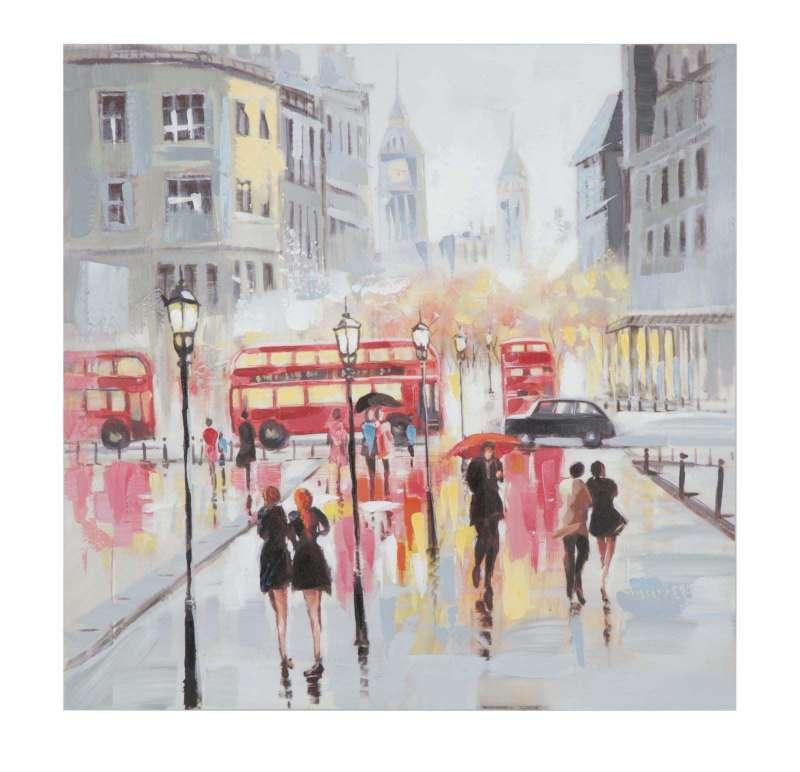 Tablou Rain London, 100x100x3 cm, lemn de brad/ canvas, multicolor poza