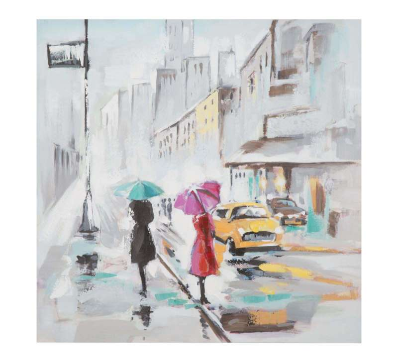 Tablou Rain Paris, 100x100x3 cm, lemn de brad/ canvas, multicolor poza