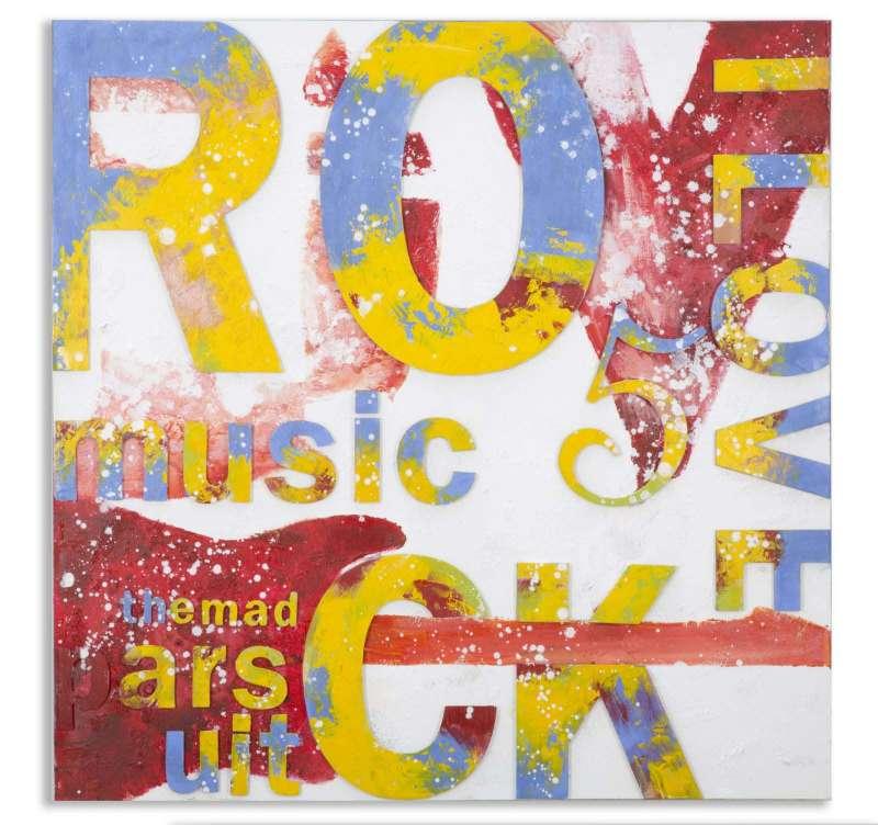 Tablou Rock , 100x100x3.5 cm, lemn de pin/ canvas, multicolor poza