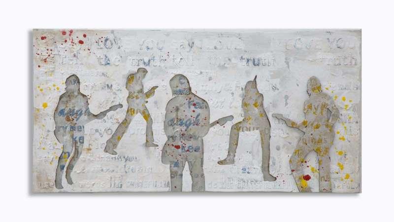 Tablou Rock&Roll, 120x60x3 cm, lemn de pin/ canvas, multicolor poza