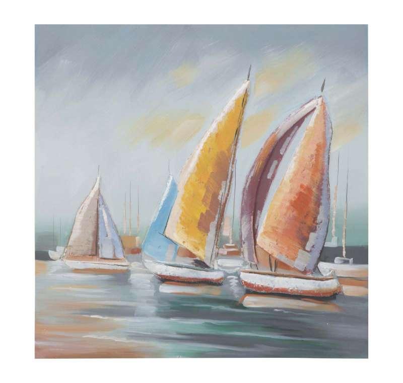 Tablou Sidney, 80x80x4 cm, lemn de pin/ canvas, multicolor poza