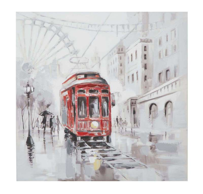 Tablou Tram 2, 80x80x3 cm, lemn de brad/ canvas, multicolor poza
