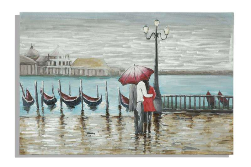 Tablou Venice, 80x120x3.7 cm, lemn de pin/ canvas/ metal, multicolor poza