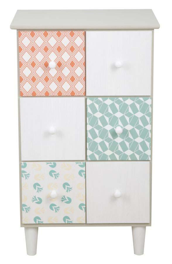 Comodă cu șase sertare Auntdeco, 71.5x43.5x38 cm, mdf, multicolor