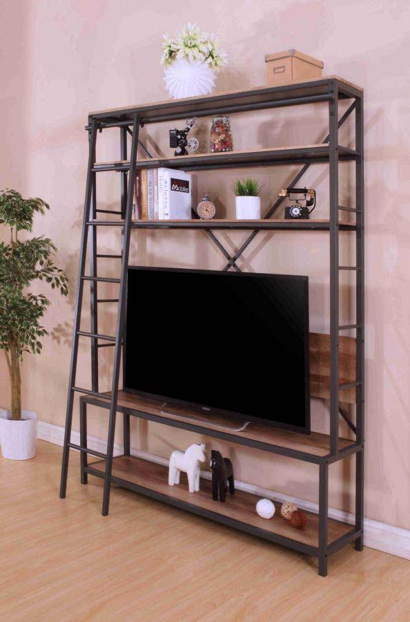Comoda TV Industrial, 210x165x40 cm, metal/ mdf, negru/ gri
