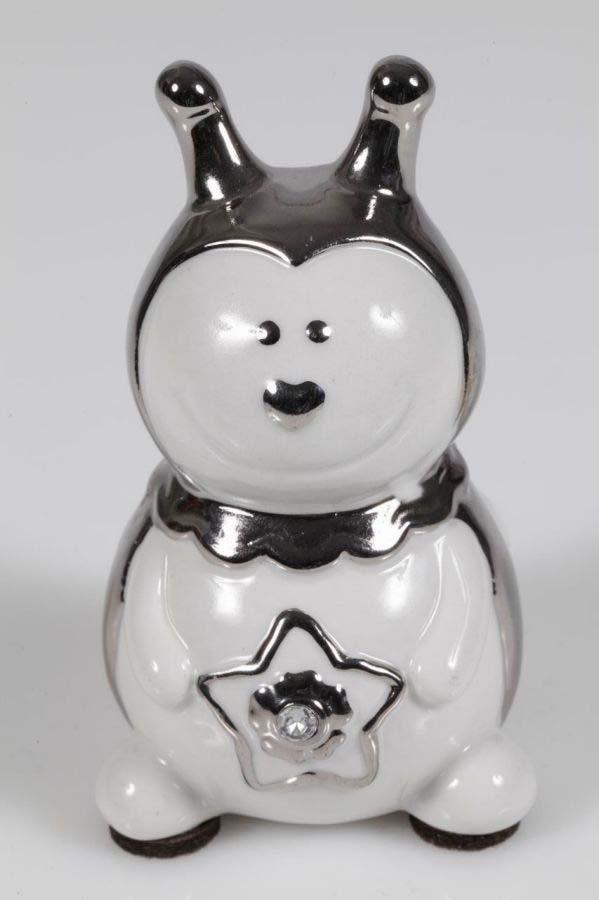 Decorațiune Toxy, 10.5x6x6 cm, ceramica, alb/ argintiu