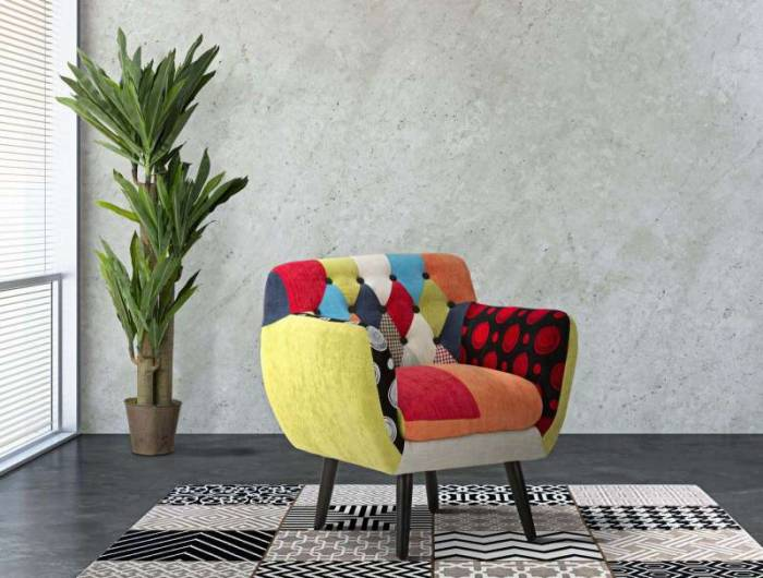 Fotoliu de living Imperial, 78x71x63 cm, lemn de pin/ lemn arbore de cauciuc/ poliester/ spuma, multicolor