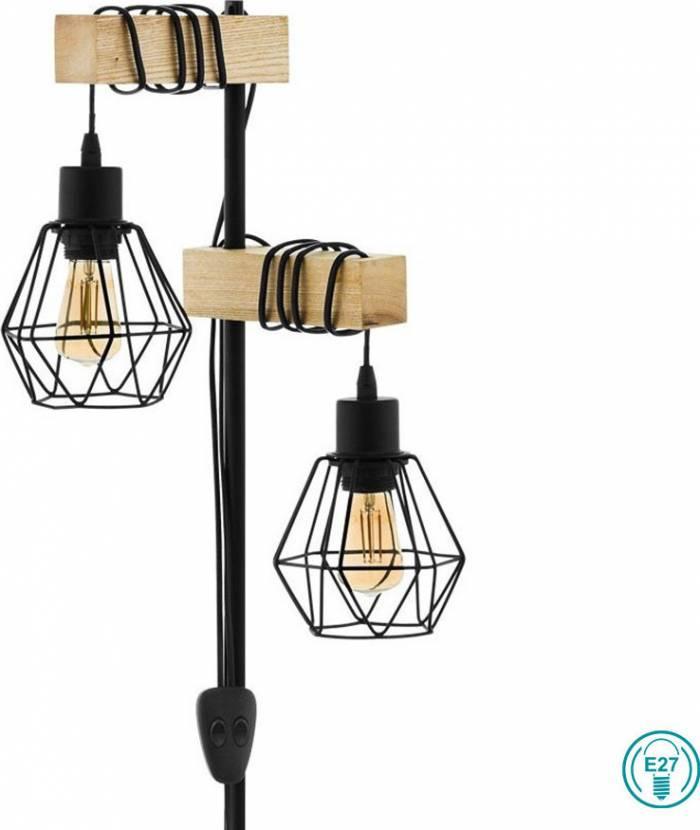 Lampadar în stil industrial Townshend 5, E27 2X60W, metal/lemn, negru/maro