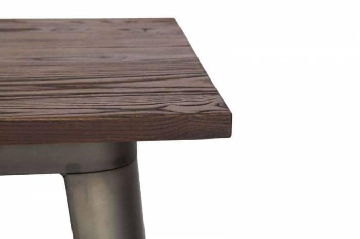 Masă de bar Detroit, 105x60x60 cm, metal/ lemn de ulm, gri/ maro
