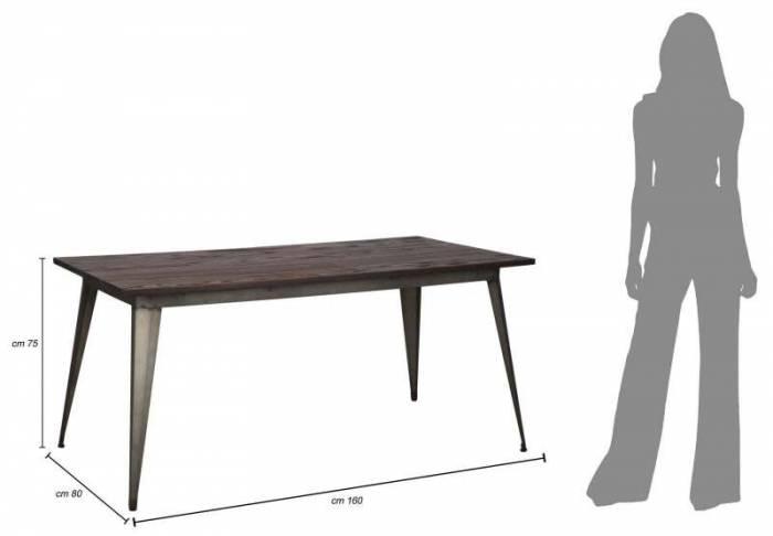Masă de dining Detroit, 75x160x80 cm, metal/ lemn de ulm, maro