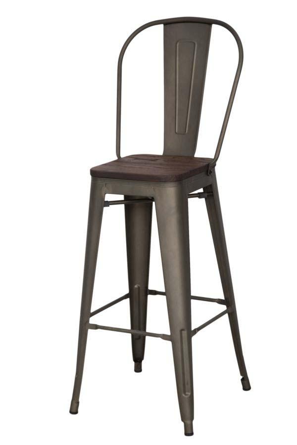 Scaun de bar Detroit, 115x46x44 cm, metal/ lemn de ulm, maro