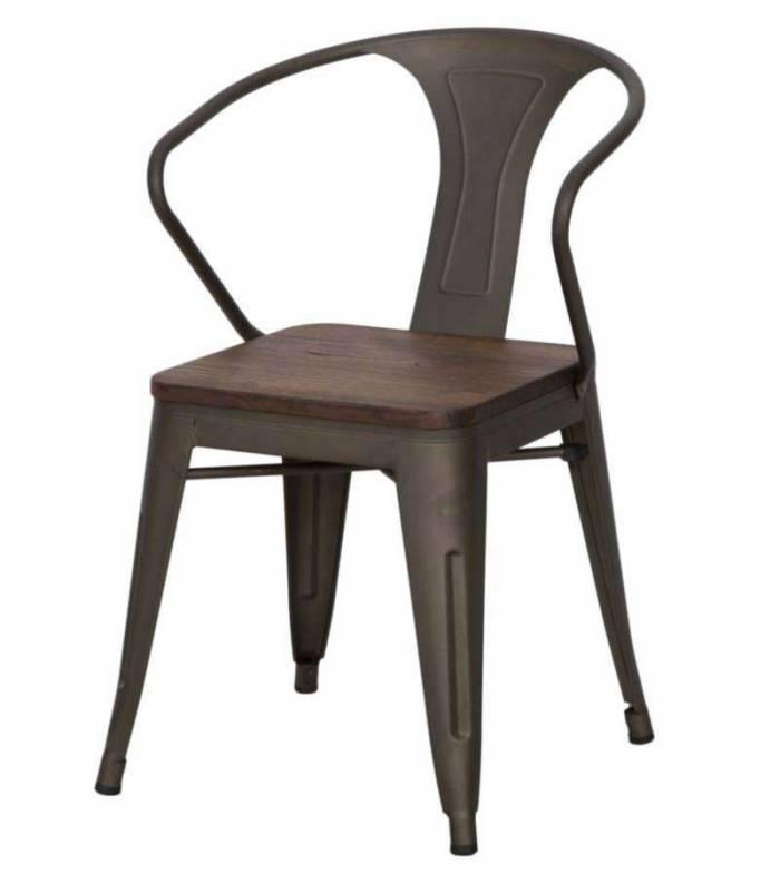 Set de două scaune Detroit, 80x56x51 cm, metal/ lemn de ulm, maro