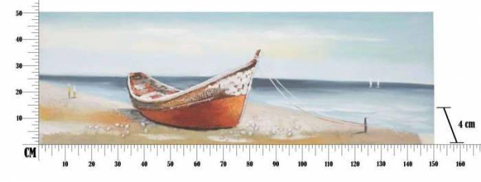 Tablou Barca, 50x150x4 cm, lemn de pin/ canvas, multicolor