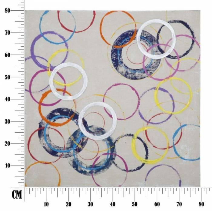 Tablou Circles , 80x80x3 cm, lemn de brad/ canvas, multicolor