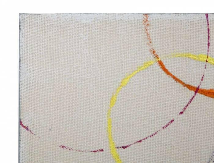 Tablou Floating Circles, 50x150x3 cm, lemn de brad/ canvas, multicolor
