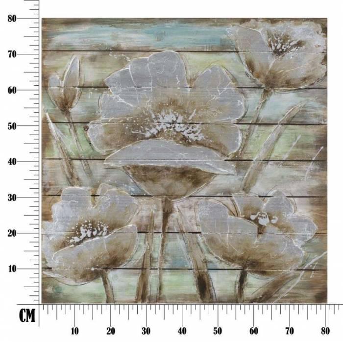 Tablou Flower in time, 80x80x4 cm, lemn de brad , multicolor