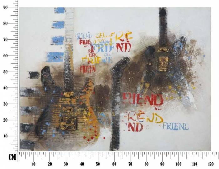 Tablou Guitar, 90x120x3.5 cm, lemn de pin/ canvas, multicolor