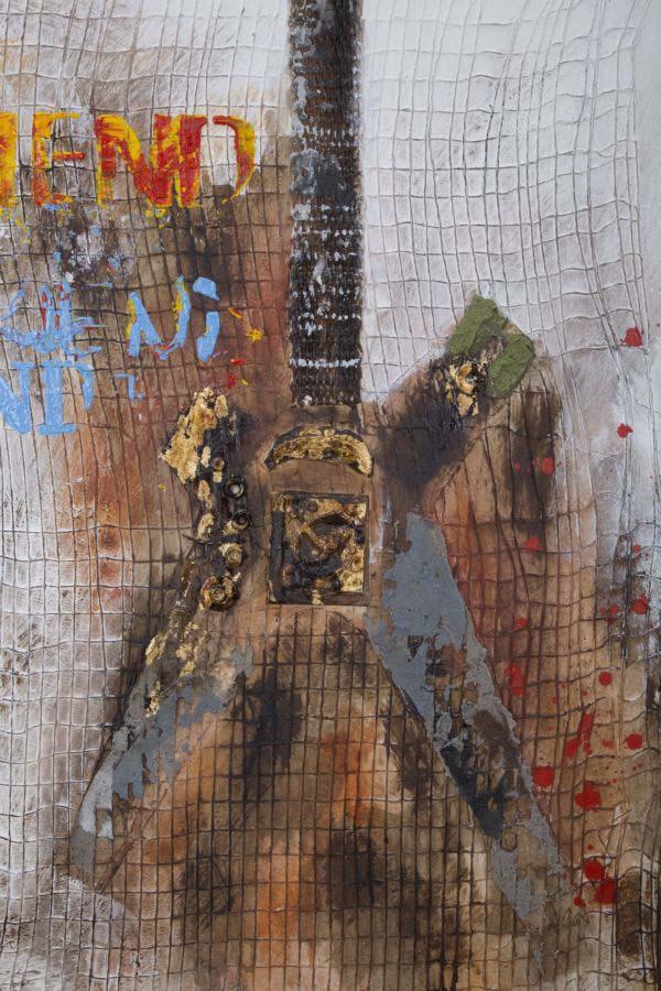 Tablou Guitar Arty, 120x90x3.5 cm, lemn de pin/ canvas, multicolor