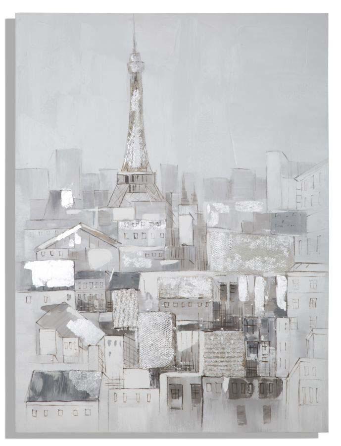 Tablou Paris Roofs, 120x90x3 cm, lemn de pin/ canvas, multicolor