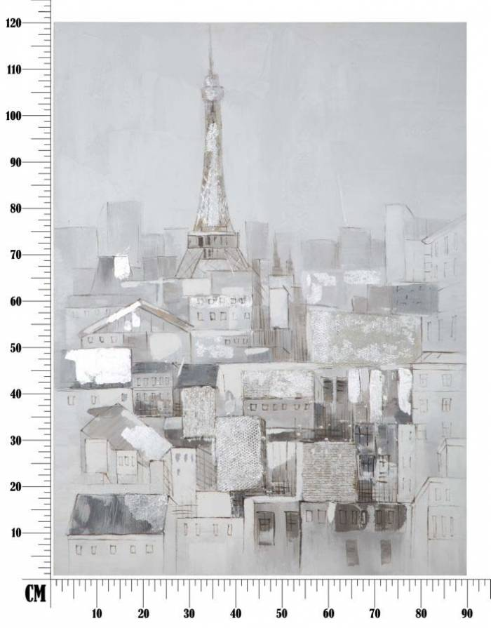 Tablou Paris Roofs, 120x90x3 cm, lemn de pin/ canvas, multicolor