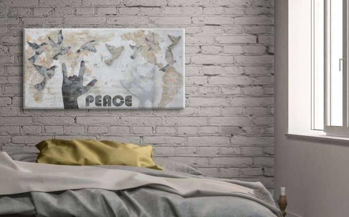 Tablou Peace, 120x60x3 cm, lemn de pin/ canvas, multicolor