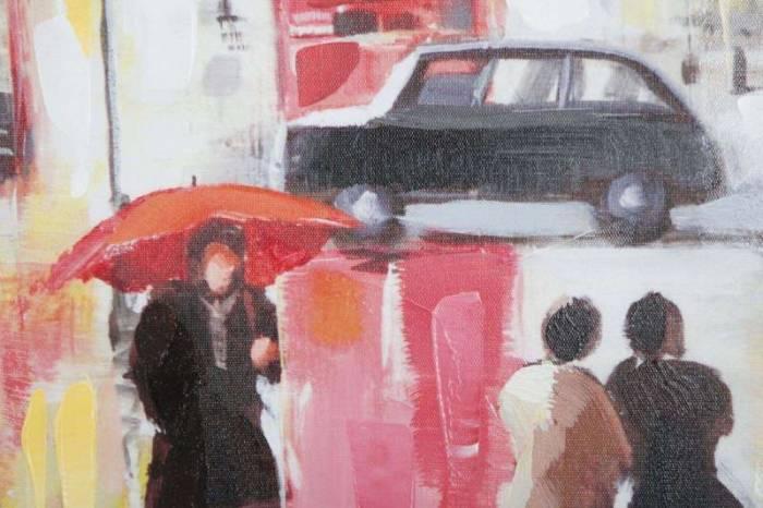 Tablou Rain London, 100x100x3 cm, lemn de brad/ canvas, multicolor