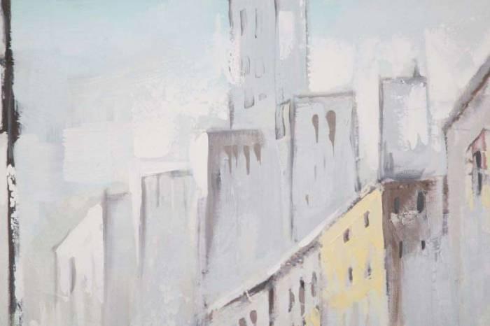 Tablou Rain Paris, 100x100x3 cm, lemn de brad/ canvas, multicolor