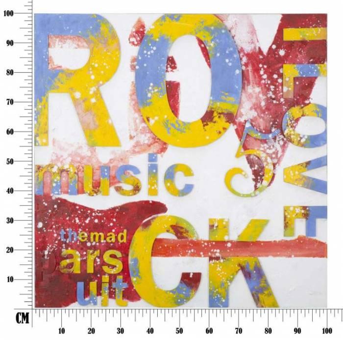 Tablou Rock , 100x100x3.5 cm, lemn de pin/ canvas, multicolor