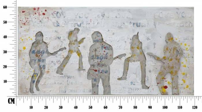 Tablou Rock&Roll, 120x60x3 cm, lemn de pin/ canvas, multicolor