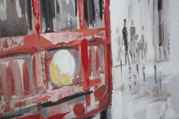 Tablou Tram 2, 80x80x3 cm, lemn de brad/ canvas, multicolor