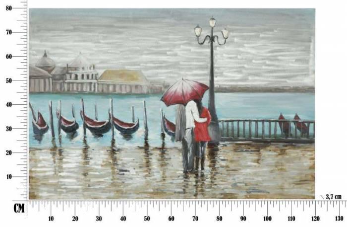 Tablou Venice, 80x120x3.7 cm, lemn de pin/ canvas/ metal, multicolor