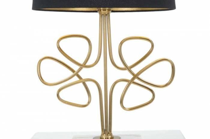 Veioză Glam Roudy, 65x39x39 cm, metal/ plastic/ poliester, negru/ auriu