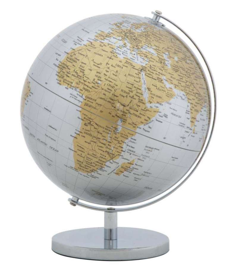 Decorațiune Globe, 34x25x25 cm, metal/ plastic, argintiu poza