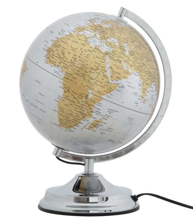Decorațiune Globe, 38x25x25 cm, metal/ plastic, argintiu poza