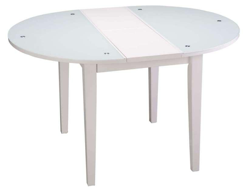 Masă de dinning extensibilă Diana, 75x100x100 cm, mdf/sticla/lemn, alb poza