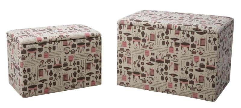 Set de două cutii de depozitare Home Square, bumbac, multicolor poza