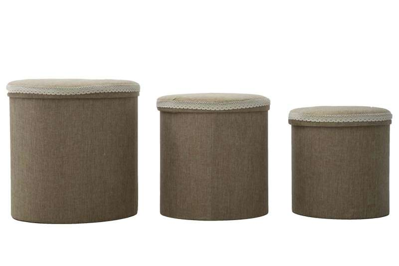Set de trei cutii de depozitare Brown Round, bumbac, multicolor poza