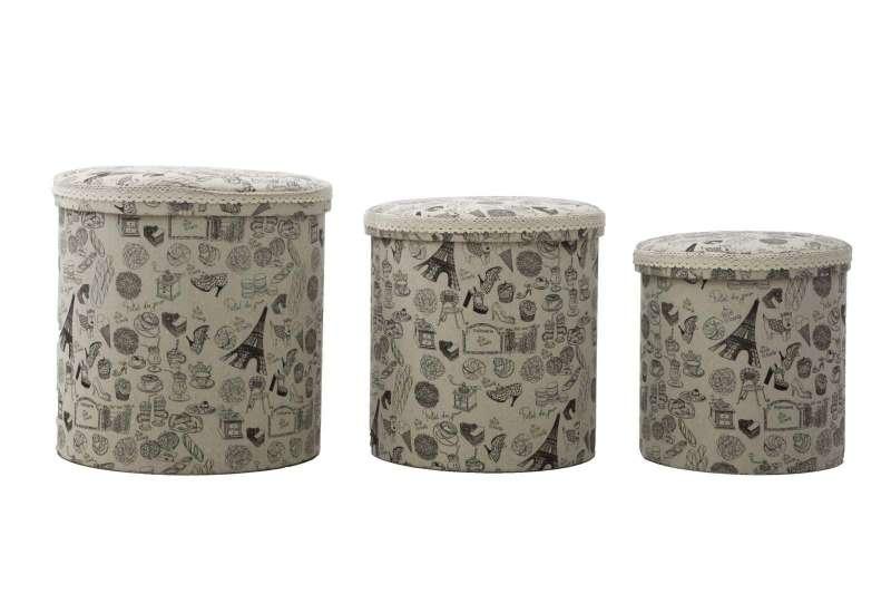 Set de trei cutii de depozitare Paris Round, bumbac, multicolor poza