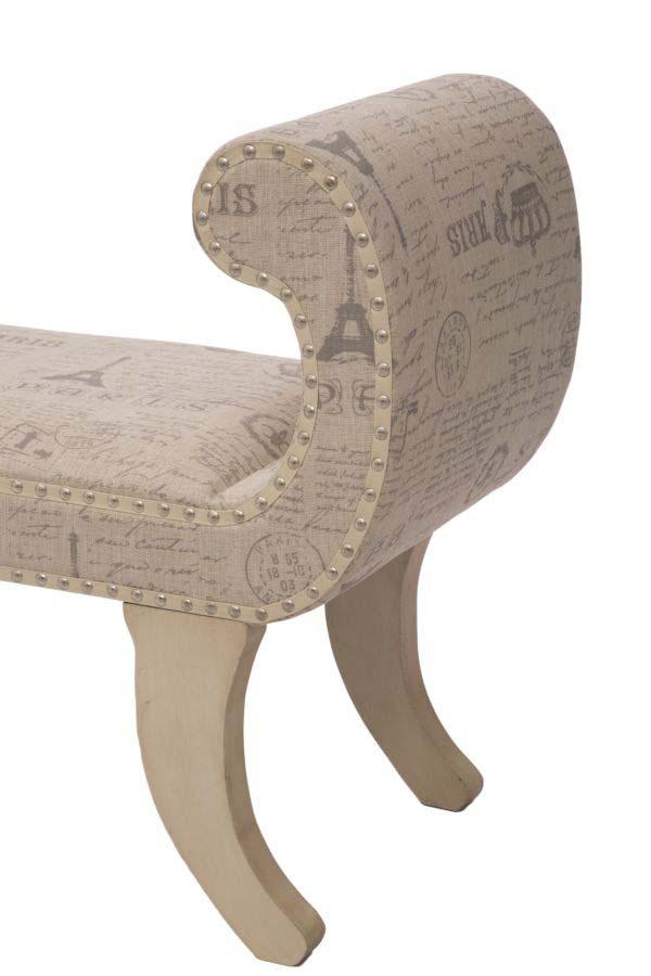 Banchetă tapițată Paris, 70x96x43 cm, lemn de brad/ mdf/ in, bej