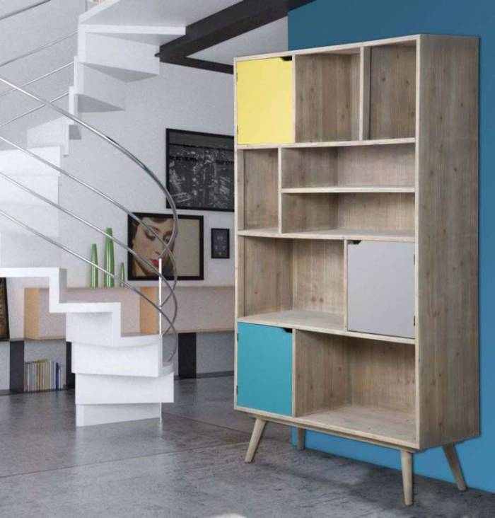 Bibliotecă Ibiza, 190x120x40 cm, lemn de brad/ mdf, multicolor