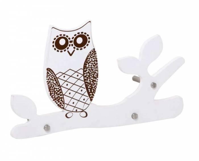 Cuier de perete Owl, 22x40x7 cm, mdf, alb/ maro
