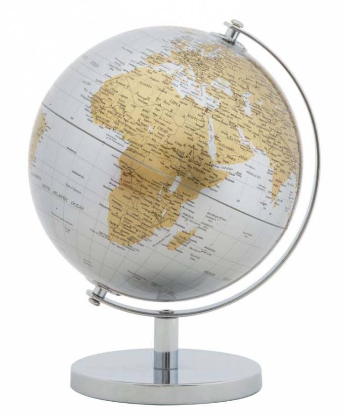 Decorațiune Globe, 28x20x20 cm, metal/ plastic, argintiu