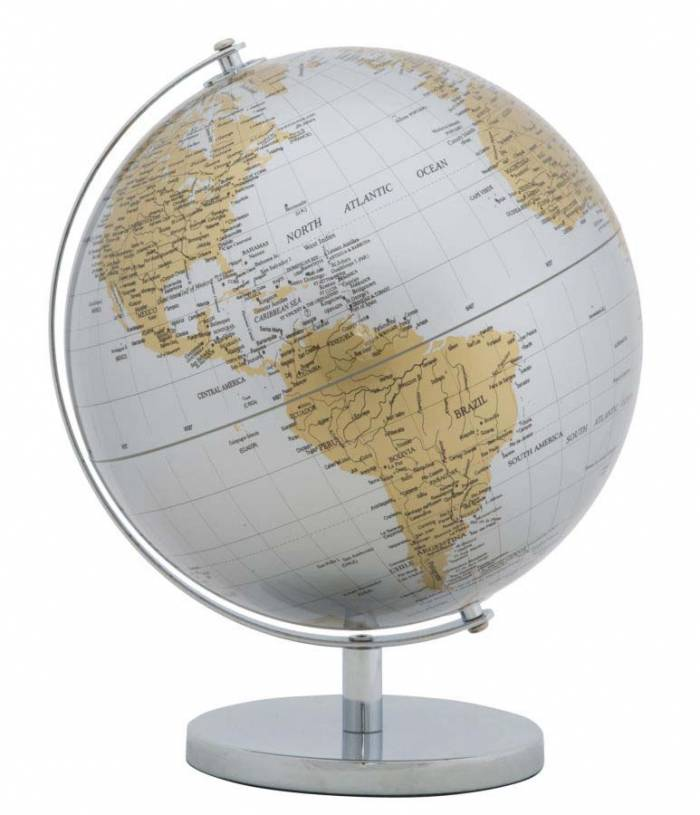 Decorațiune Globe, 34x25x25 cm, metal/ plastic, argintiu