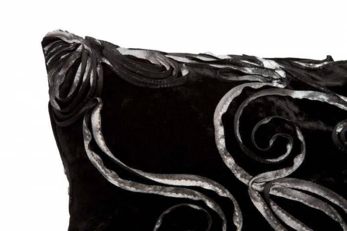 Față de pernă Flowy, 40x40x0.5 cm, textil, negru