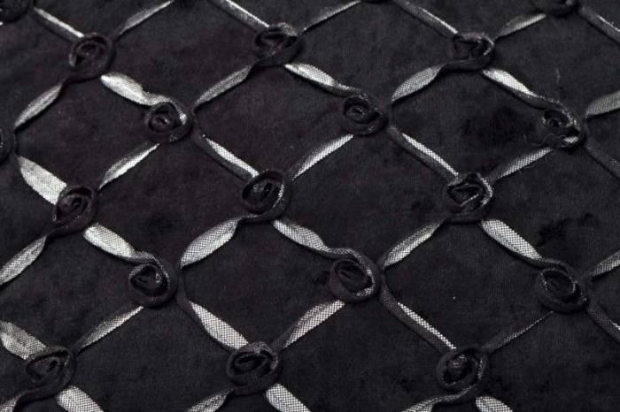 Față de pernă Roselline, 40x40x0.5 cm, textil, negru/ albastru